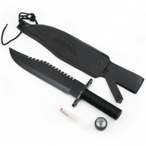 15 inch SURVIVAL KNIVE RAMBO STYLE BLACK WITH CASE (29317B